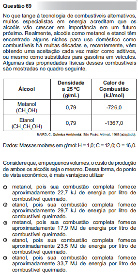 Questão 69 do Enem – 2010 sobre termoquímica