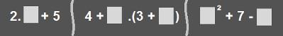 Exemplos de expressões algébricas que podem ser utilizadas na Adedonha Matemática