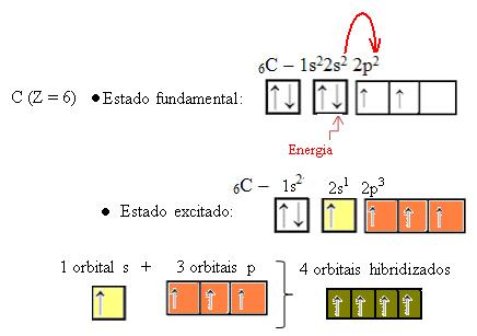 Representação do processo de hibridização do carbono