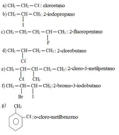 Resposta de exercício sobre nomenclatura de haletos orgânicos