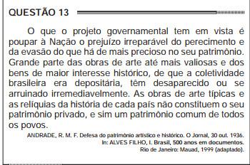 O Enem de 2012 abordou as políticas patrimoniais a partir de um texto de um dos idealizadores do SPHAN, Rodrigo Andrade.