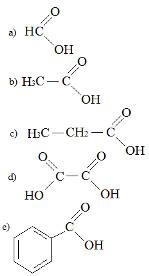 Fórmulas de ácidos