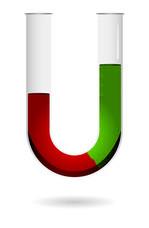 Resultado de experimento sobre densidade através do tubo em U