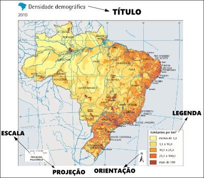 Exemplo de mapa demográfico do Brasil elaborado pelo IBGE *
