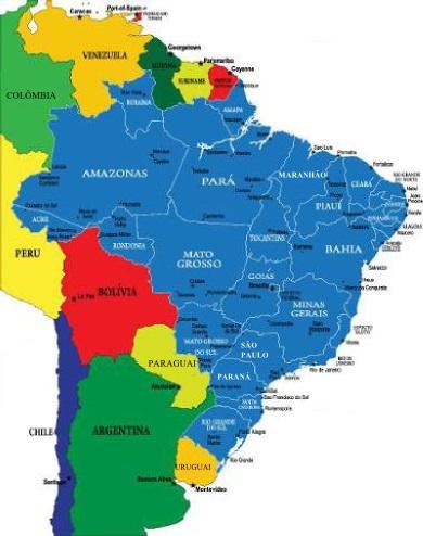 O Brasil faz fronteira com quase todos os países da América do Sul