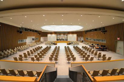 Sede do Conselho de Segurança, em Nova York. Os seus membros reúnem-se na mesa redonda principal ¹
