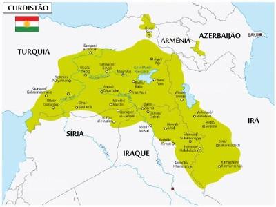 Mapa com a região estimada de reivindicação dos curdos para a criação do Curdistão