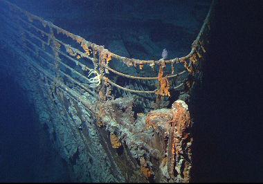 Imagem dos destroços da proa do Titanic