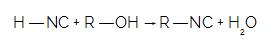 Ao reagir o HNC com um álcool, temos a formação do isonitrilo e uma molécula de água
