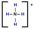 Fórmula estrutural do cátion amônio