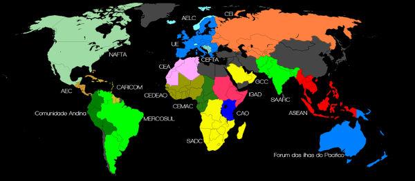 Mapa com a maior parte dos blocos econômicos do mundo