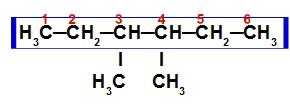 Cadeia principal e ramificações no 3,4-dimetil-hexano