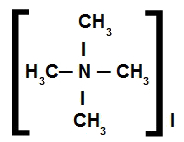 Fórmula estrutural de um sal de amônio quaternário com quatro radicais iguais