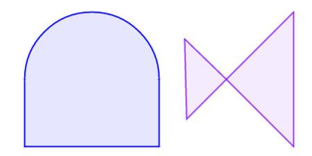 Exemplos de não polígonos