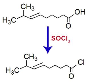 Equação de formação do cloreto de 8-metil-non-6-enoíla