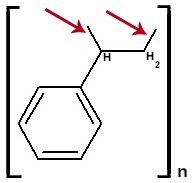 Fórmula estrutural do Poliestireno