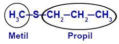 Identificação dos radicais maior e menor do tioéter