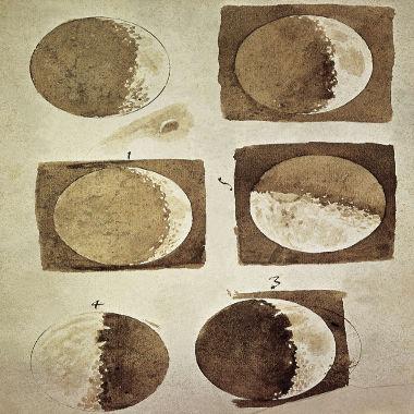 Esses são desenhos das fases da Lua feitos por Galileu Galilei a partir de observações com telescópio