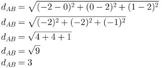 Cálculo do exemplo de distância entre dois pontos no espaço