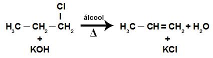 Equação da reação de eliminação em um haleto orgânico