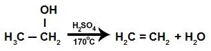 Equação da reação de eliminação intramolecular do etanol