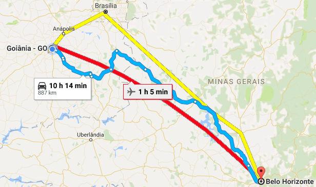 Percursos possíveis entre Goiânia e Belo Horizonte. (Imagem retirada do Google Maps)