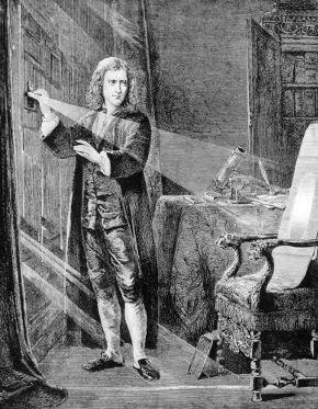 Newton realizando experimentos de Óptica