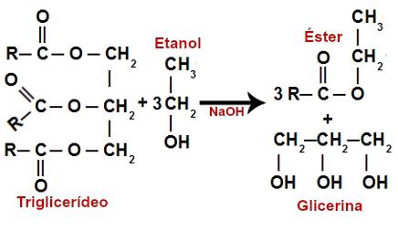 Formação da glicerina na reação de transesterificação