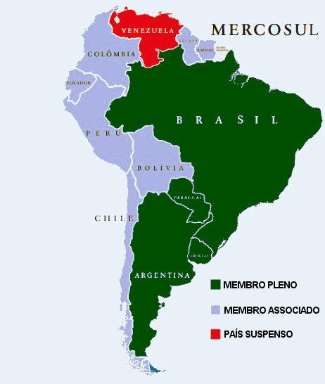 Mapa de localização dos países do Mercosul