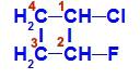Fórmula estrutural do 1-cloro-2-flúor-ciclobutano