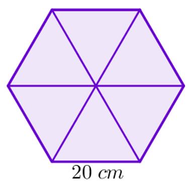 Hexágono dividido em triângulos equiláteros