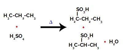 Produtos formados a partir da sulfonação do propano