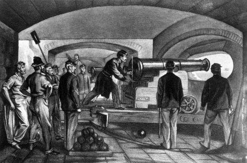 Ilustração representa os soldados da União defendendo o Forte Sumter do ataque confederado em 1861