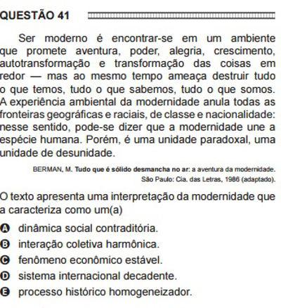 Questão 41, ENEM 2016.