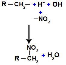 Representação da formação da água e do nitrocomposto
