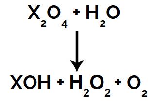 Produtos formados em uma reação de superóxido com água