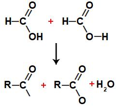 Equação representando a formação de água entre ácidos metanoicos