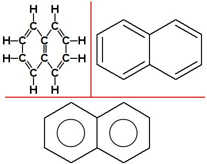 Fórmulas estruturais do naftaleno