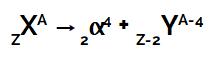 Equação que representa a primeira lei da radioatividade