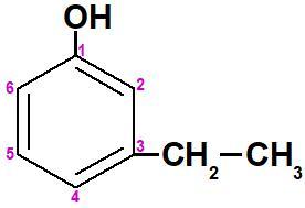 Carbonos numerados na fórmula estrutural de um fenol ramificado