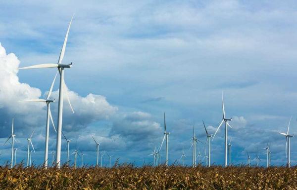 Aerogeradores eólicos usados para geração de energia eólica.