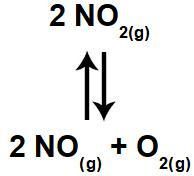 Equação de reação com componente gasoso.