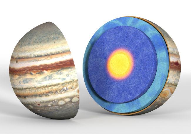 Júpiter é um dos gigantes gasosos. Em razão da grande pressão, o seu núcleo é formado por hidrogênio metálico.