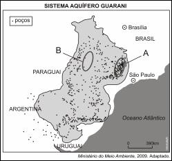 Mapa que representa o Sistema Aquífero Guarani.