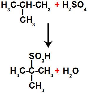 Equação de formação do ácido sulfônico.