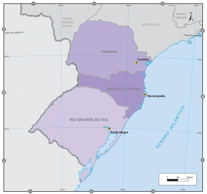 A região Sul é composta por três estados e é a menor região do país. (Fonte: IBGE)