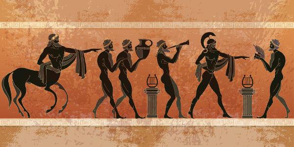 Representação de estilo de desenho feito pelos gregos em cerâmicas.
