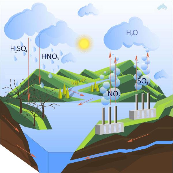 A formação de chuva ácida ocorre por meio da reação entre óxidos e partículas de água, que formam ácidos.