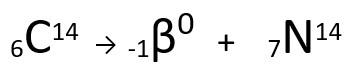 Equação representativa da emissão de partícula β pelo Carbono-14