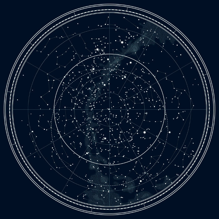 O mapa celeste acima retrata o formato das 88 constelações existentes.